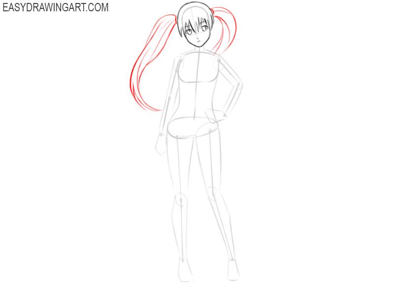 how to draw anime girl kawaii