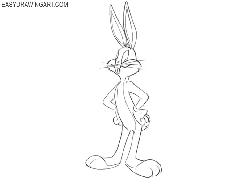 how to draw bugs bunny full body step by step