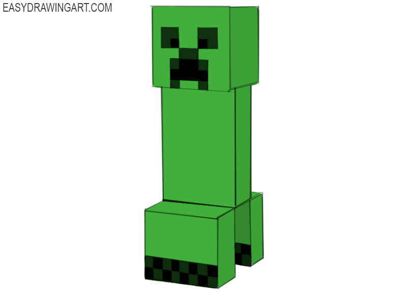 How To Draw Creeper Easy Drawing Art