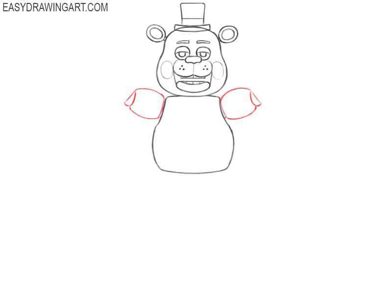 how to draw freddy fazbear easy