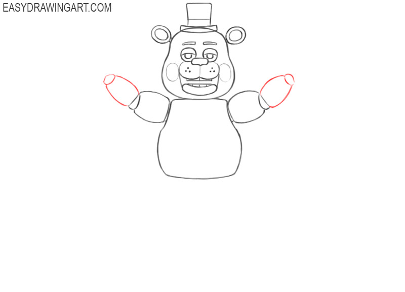 how to draw freddy fazbear step by step easy