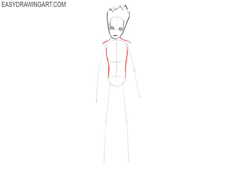 how to draw groot cartoon