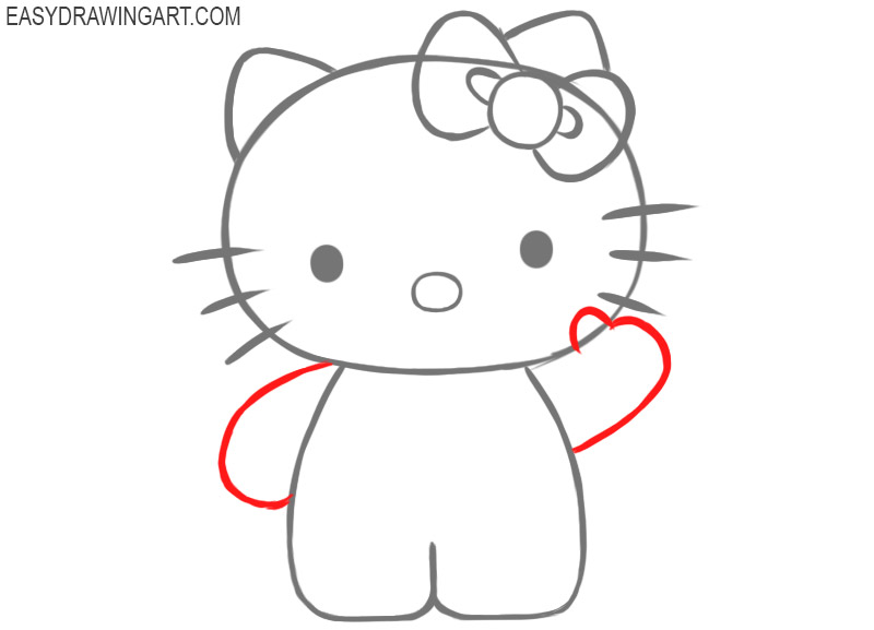 how to draw hello kitty step by step with pencil