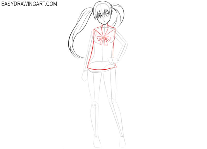 how to draw kawaii anime girl step by step