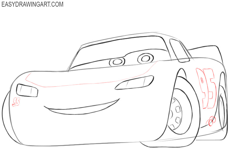 how to draw lightning mcqueen from cars