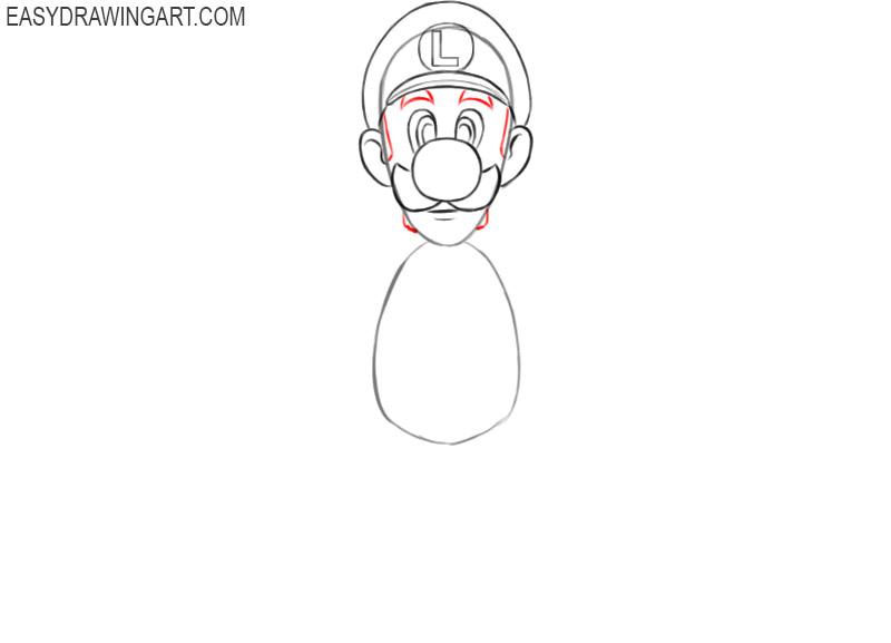 how to draw luigi full body step by step