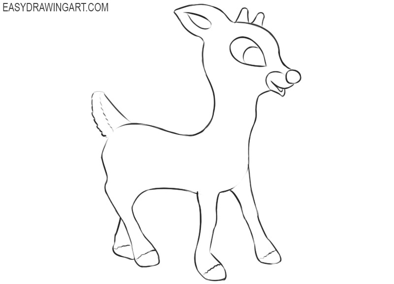 how to draw rudolph easy step by step