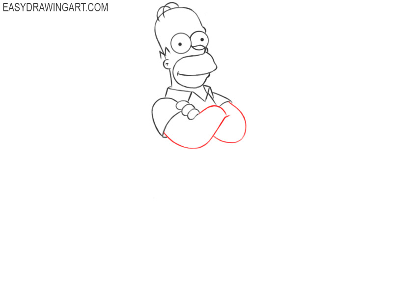 how to draw simple homer simpson