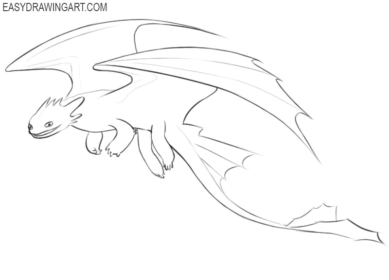 how to draw simple toothless dragon