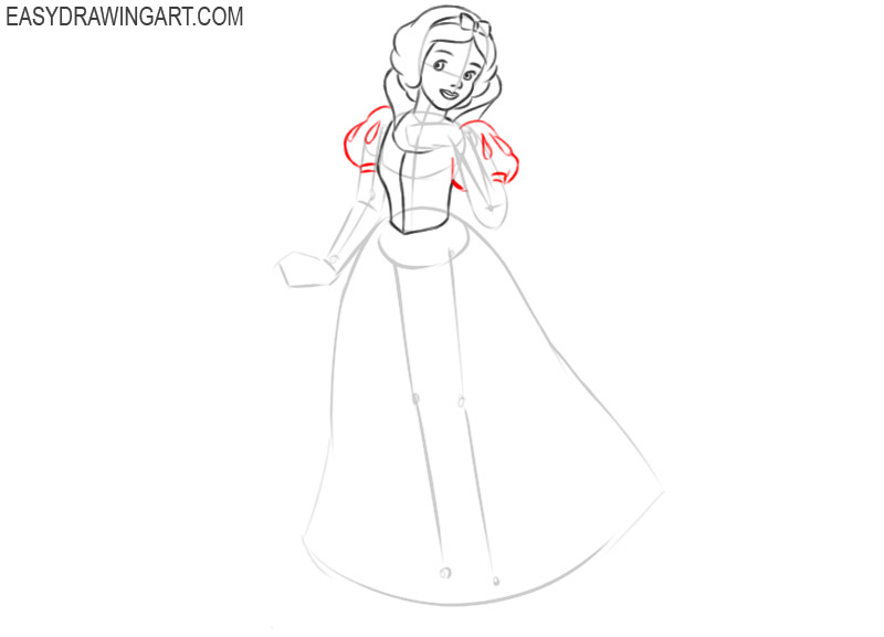 how to draw snow white step by step for beginners
