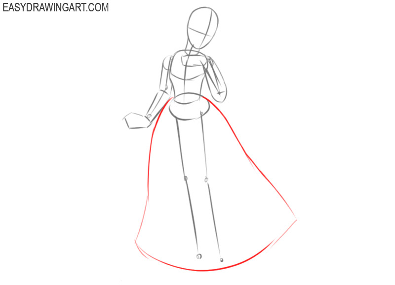 how to draw snow white step by step full body