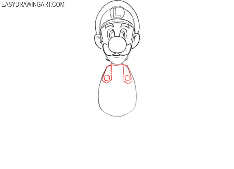 how to draw the cartoon luigi