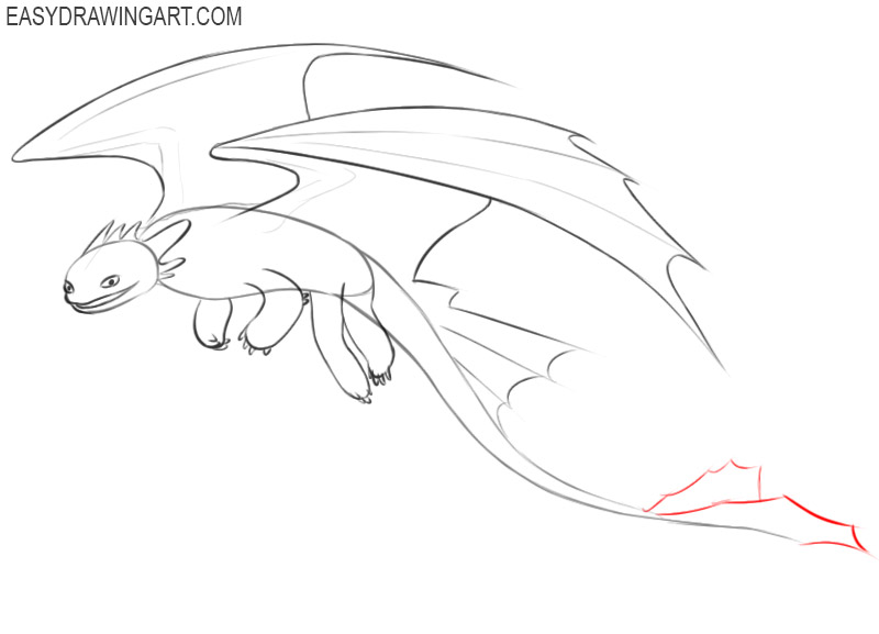 how to draw toothless the dragon flying