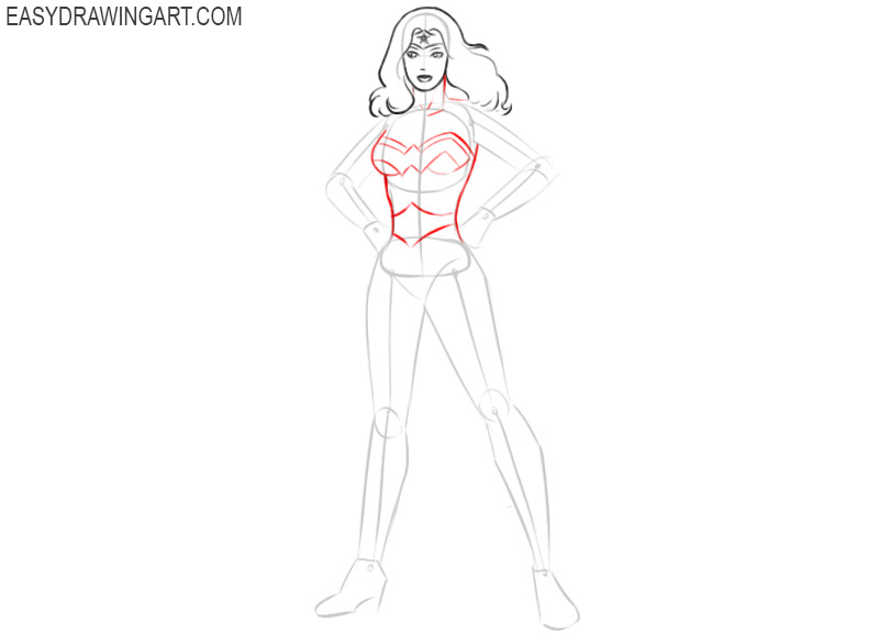 how to draw wonder woman easy drawings