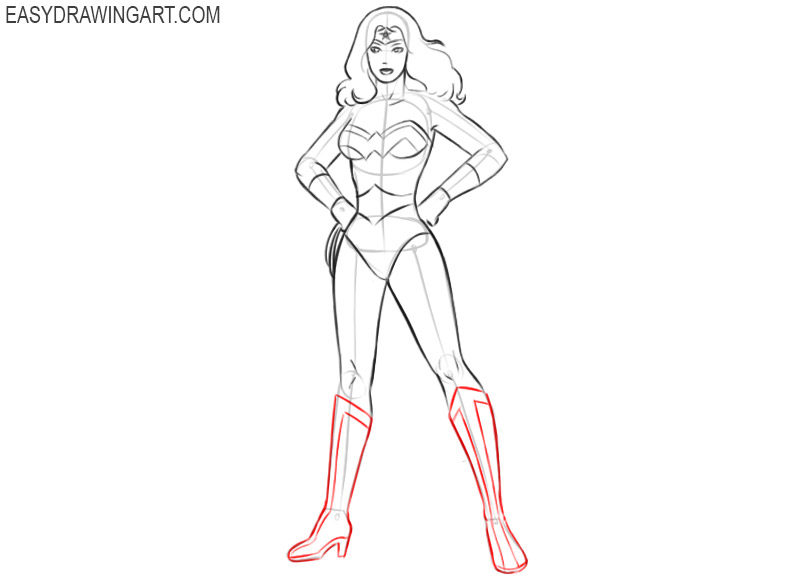 how to draw wonder woman full body easy