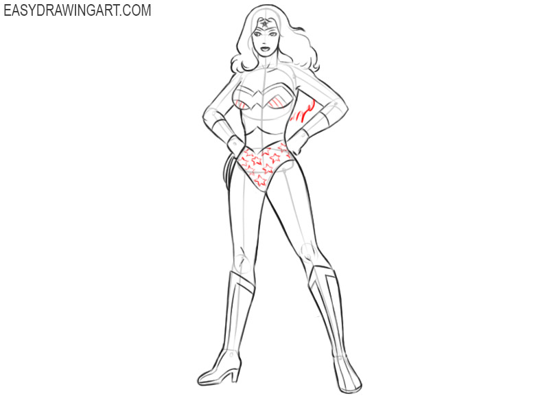 how to draw wonder woman in easy way