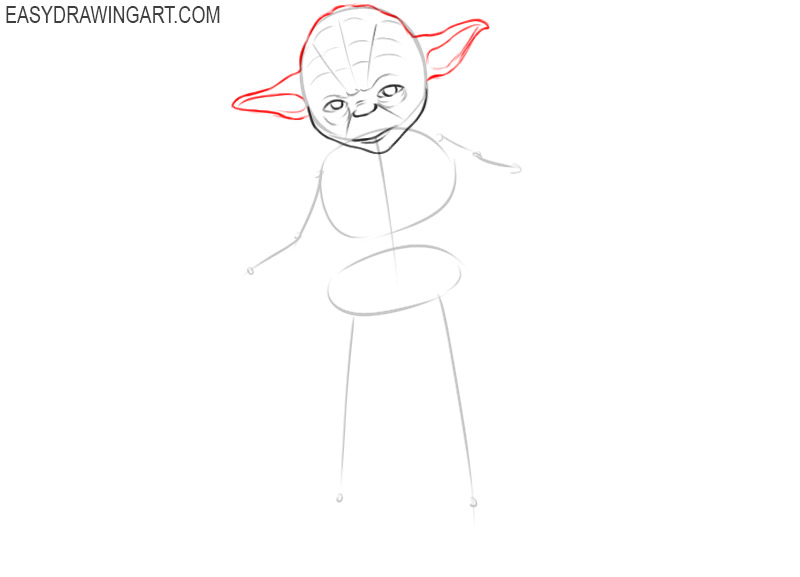 how to draw yoda easy step by step