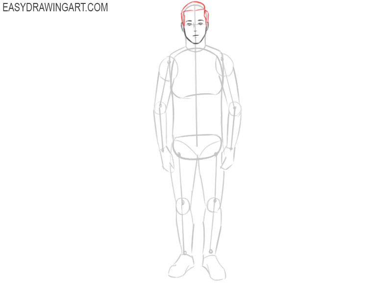 man drawing outline