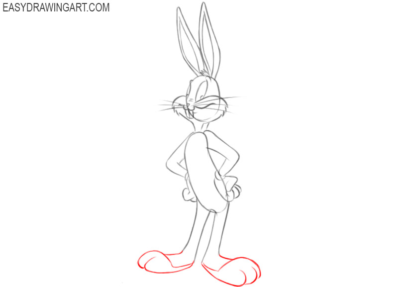 step by step instructions on how to draw bugs bunny