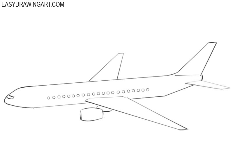 How To Draw An Airplane Easy Drawing Art