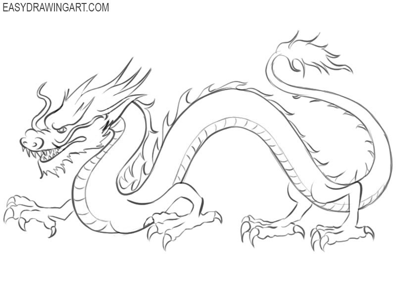 how to draw a Chinese dragon easy