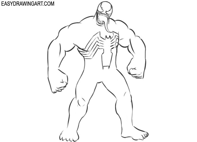 How to draw Venom step by step for beginners
